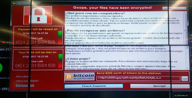 An image of the wannacry affected system obtained by El Mundo reporters from Telefonica employees