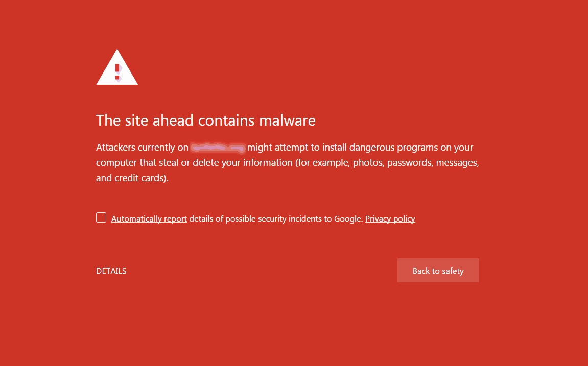 An example of Google's infected site notice