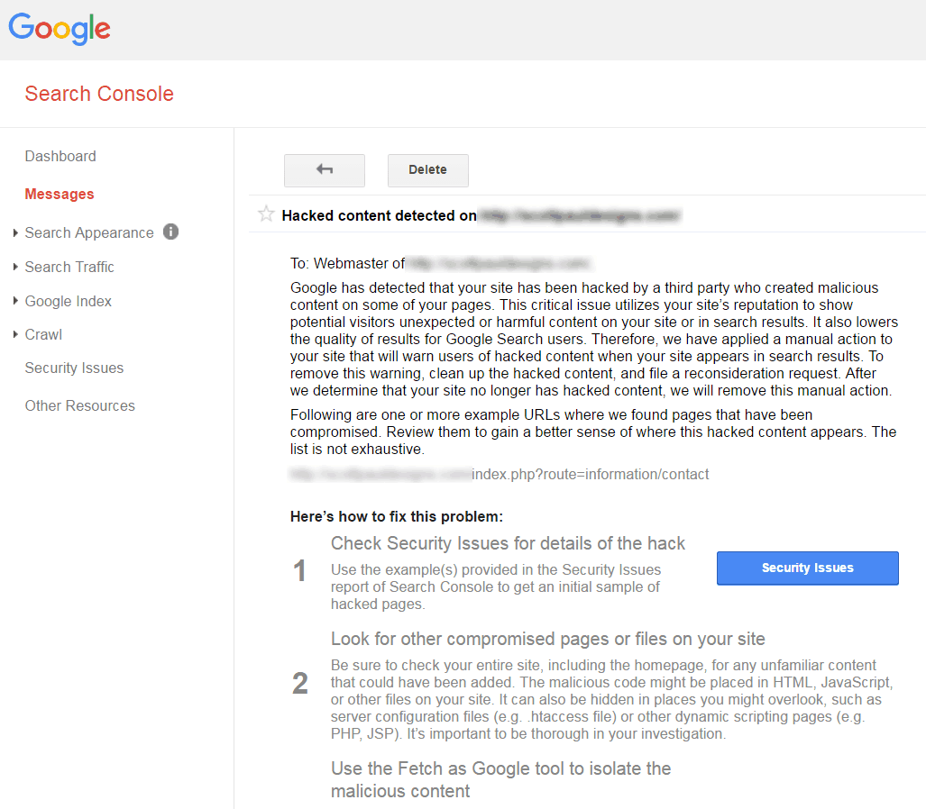 Google Search Console Message for Hacked Content