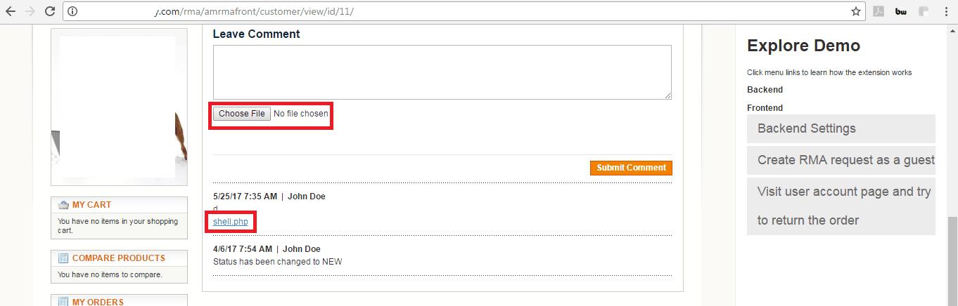 Magento RMA Extension Vulnerability fileupload