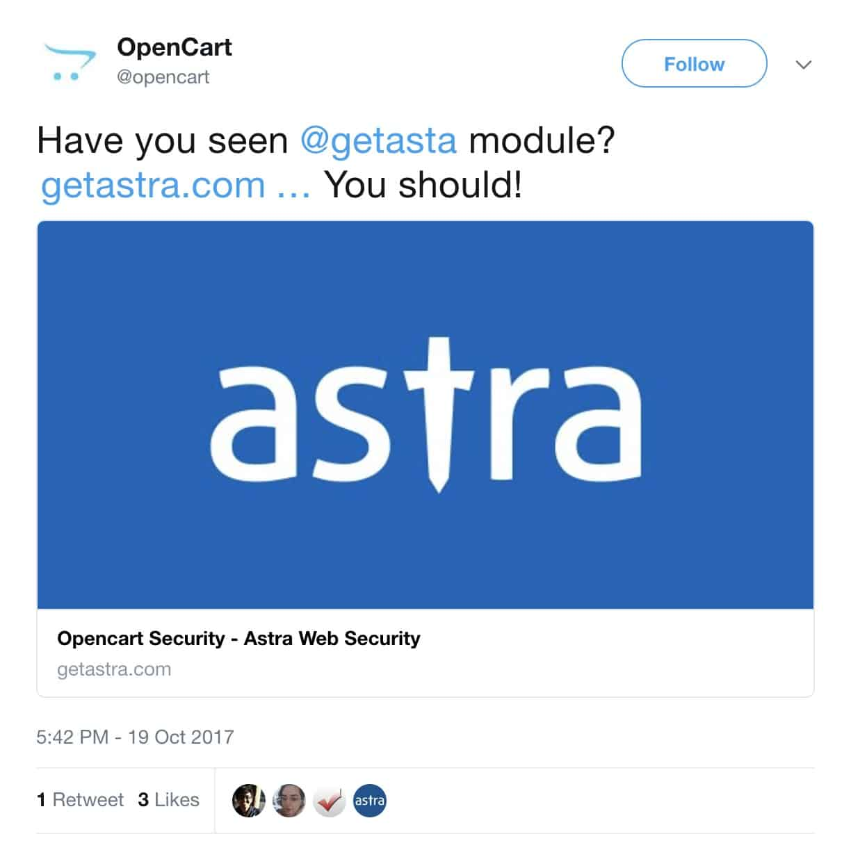 Opencart tweets about Astra
