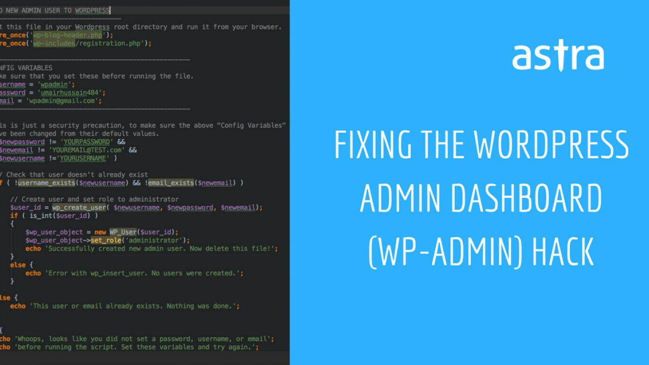 How to fix WordPress admin dashboard (wp-admin) hack - Astra