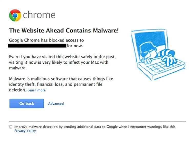 Screenshot of a blacklisted website