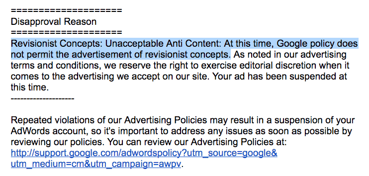 Unacceptable content reason for suspension of ads
