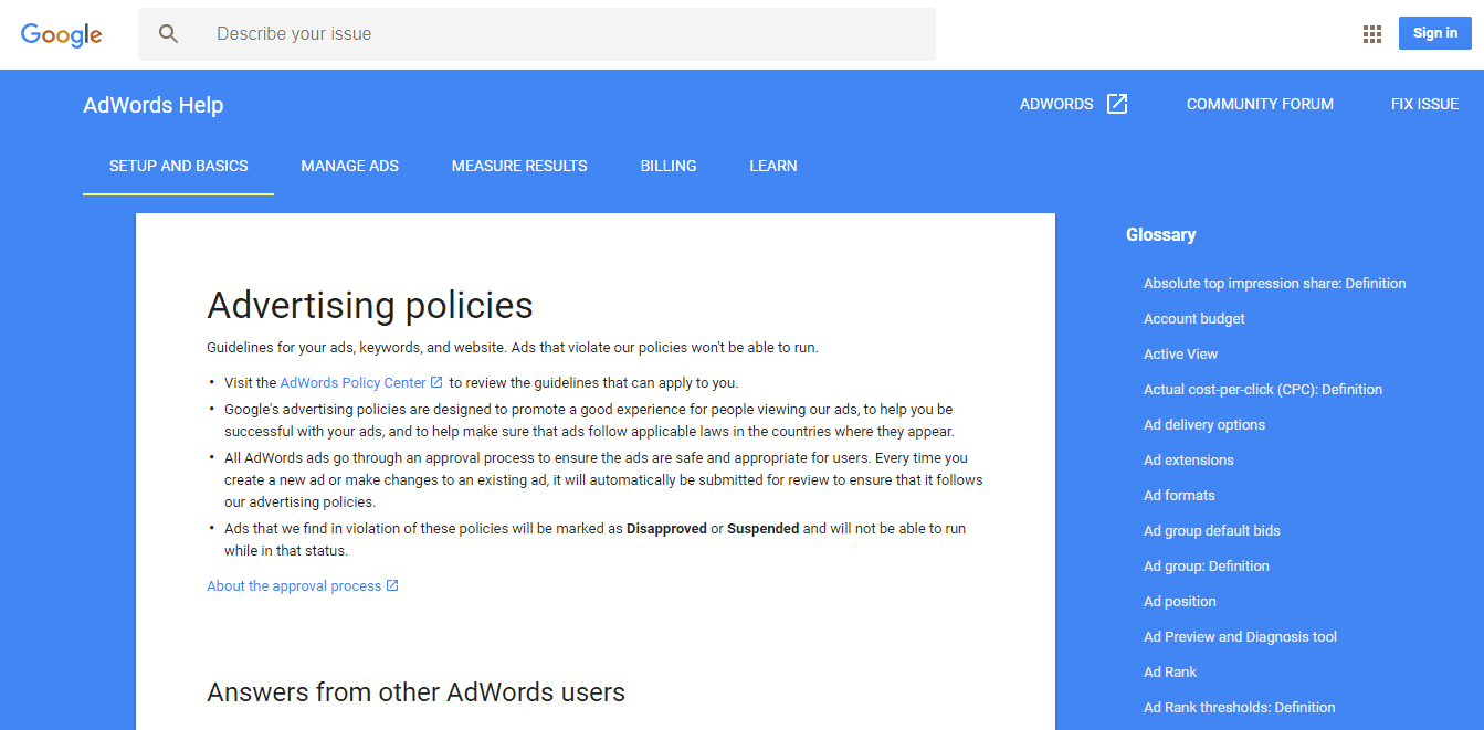Ads suspended due to violation of these policies