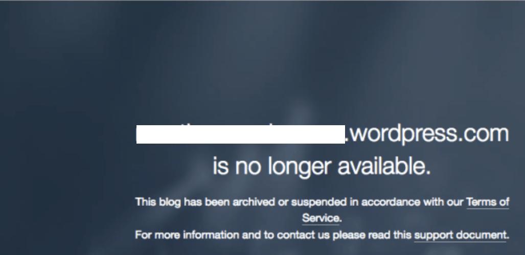 Screenshot of a suspended website