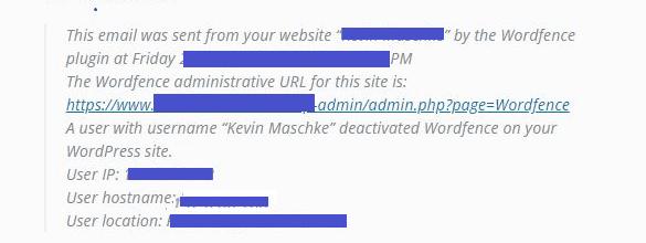 Wordfence deactivation security alert