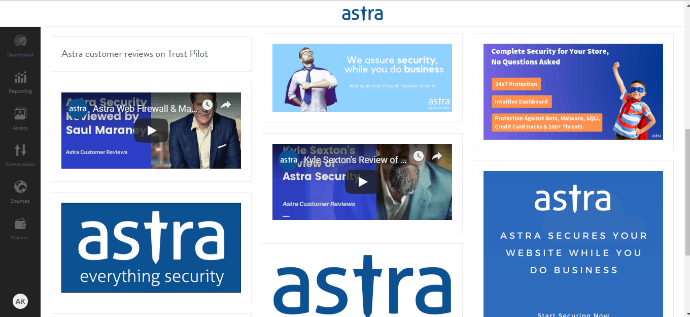 Assets on Astra Affiliate Dashboard