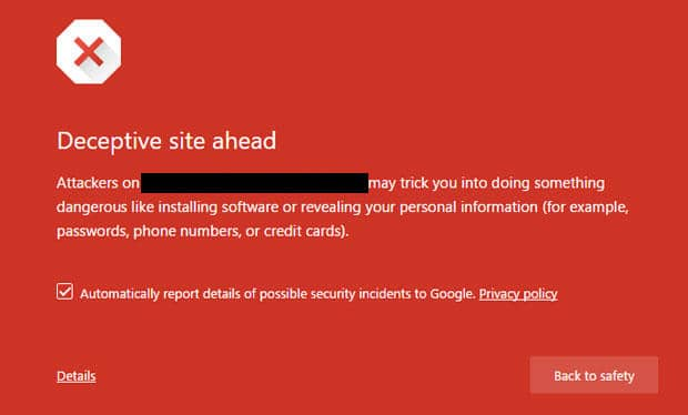 deceptive site ahead fix