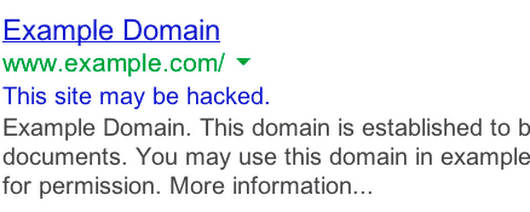 This site may be hacked warning