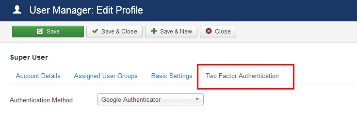 Two factor authentication in Joomla