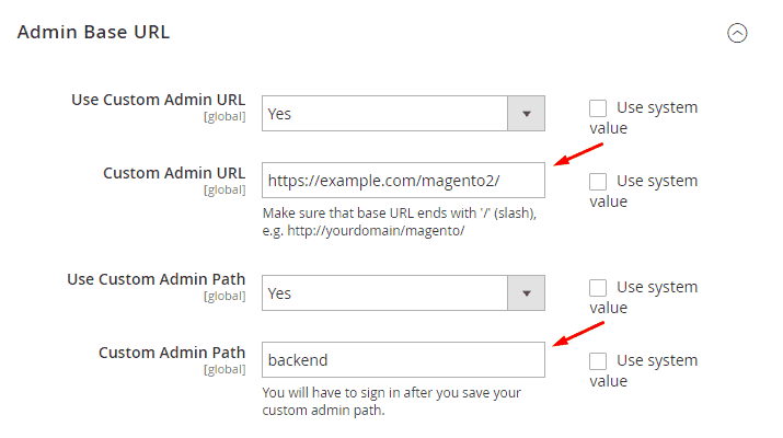 Changing admin URL in Magento