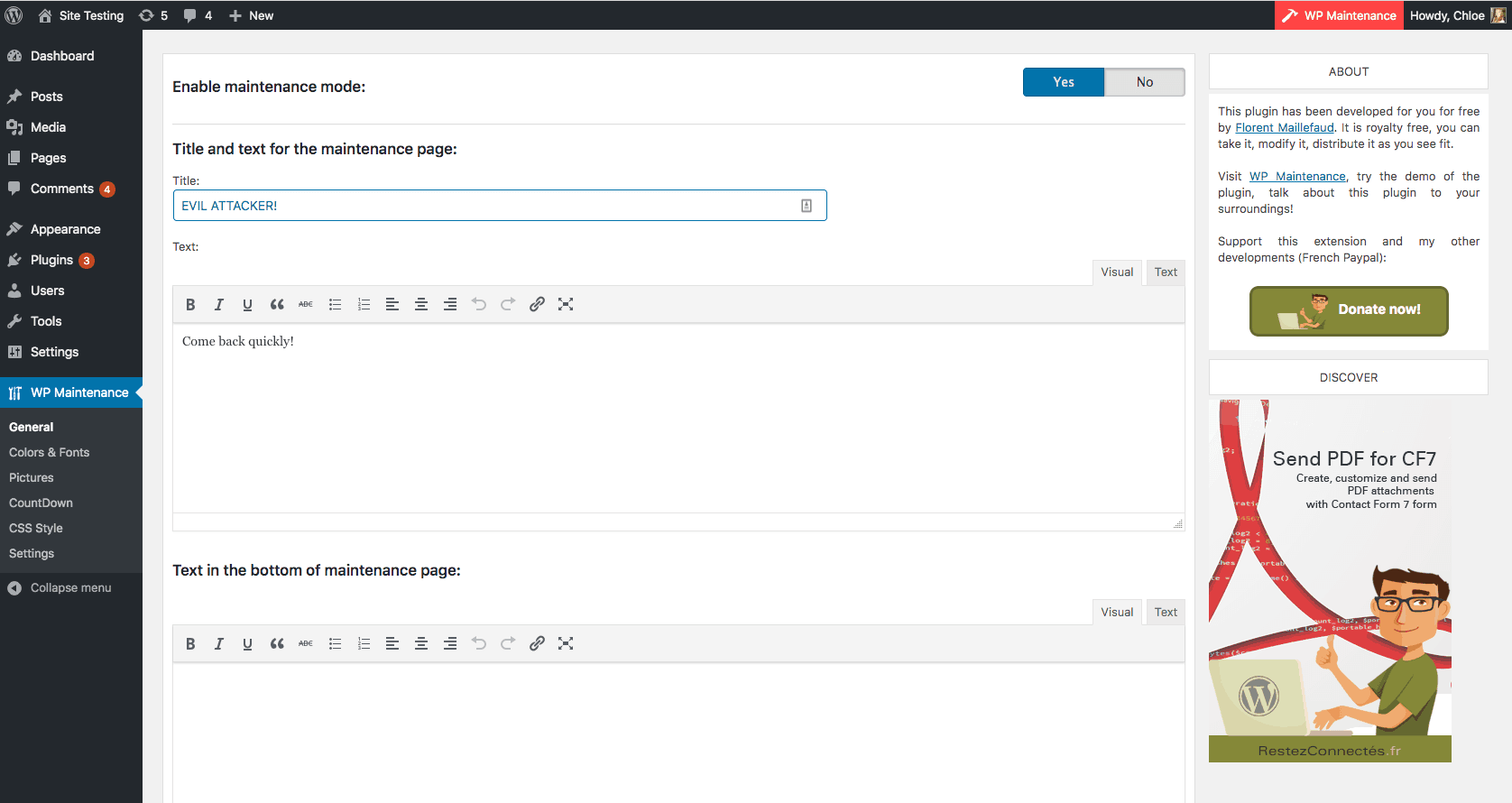 WP maintenance vulnerability