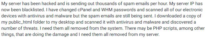 magento hacked sending spam example