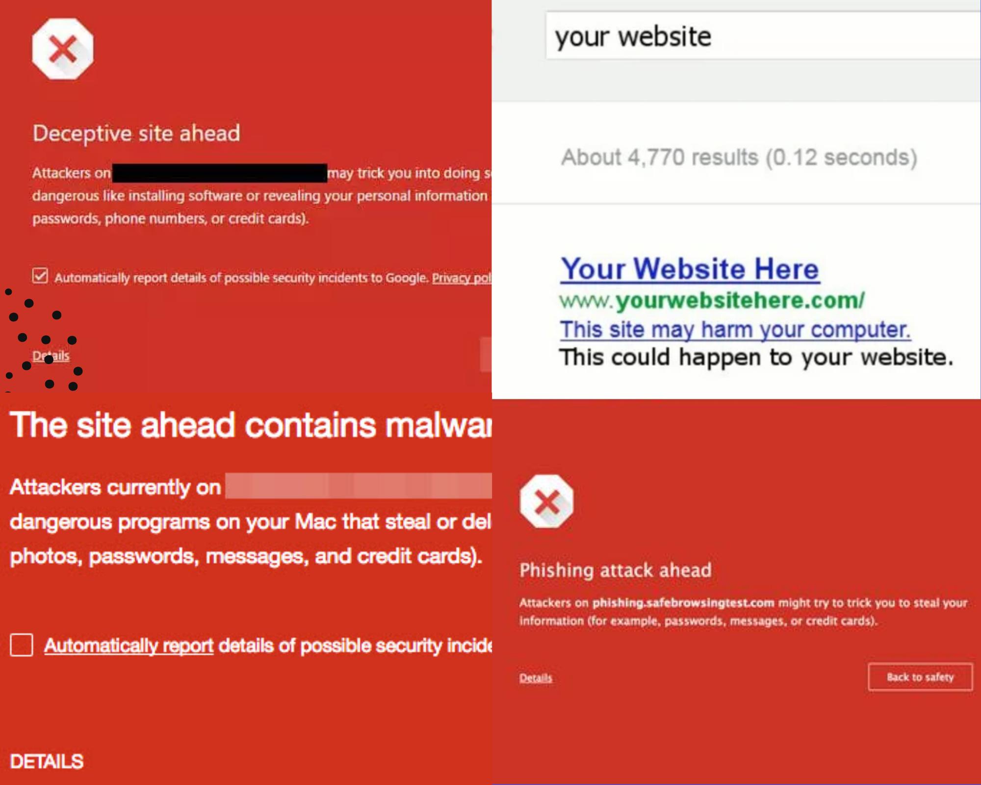 Types of Google Blacklist messages